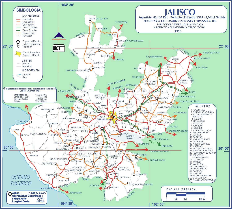 mapa vial jalisco carreteras mexico