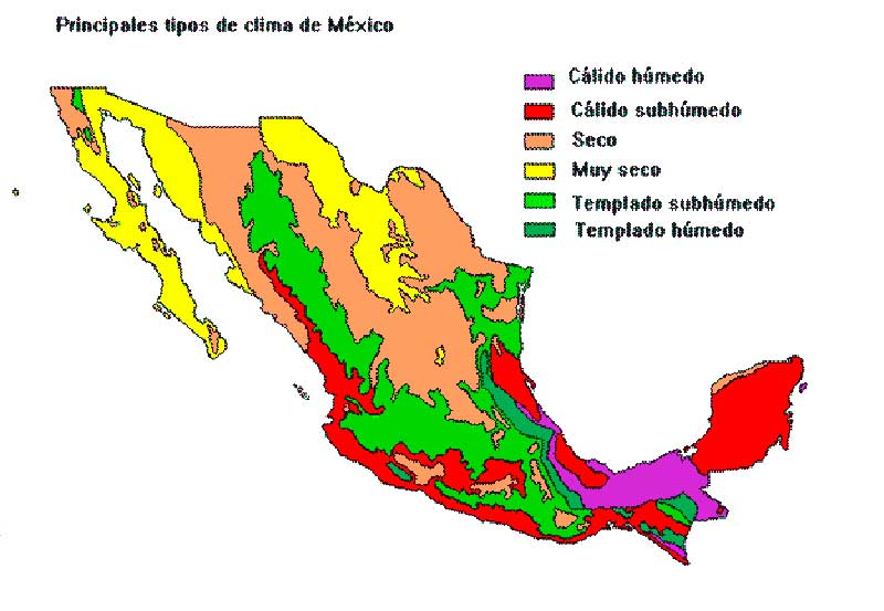 mapa de clima mexico