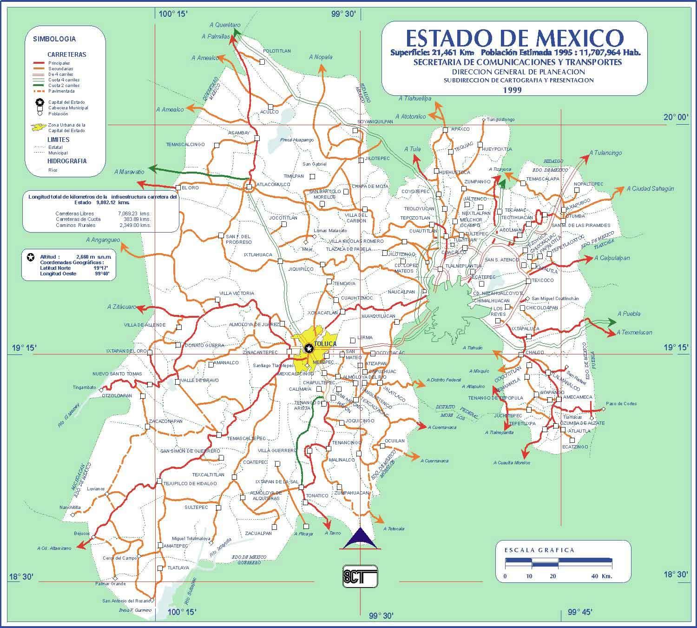 Estados De Mexico Mapa.Mapa Vial Estado Mexico Carreteras Mexico