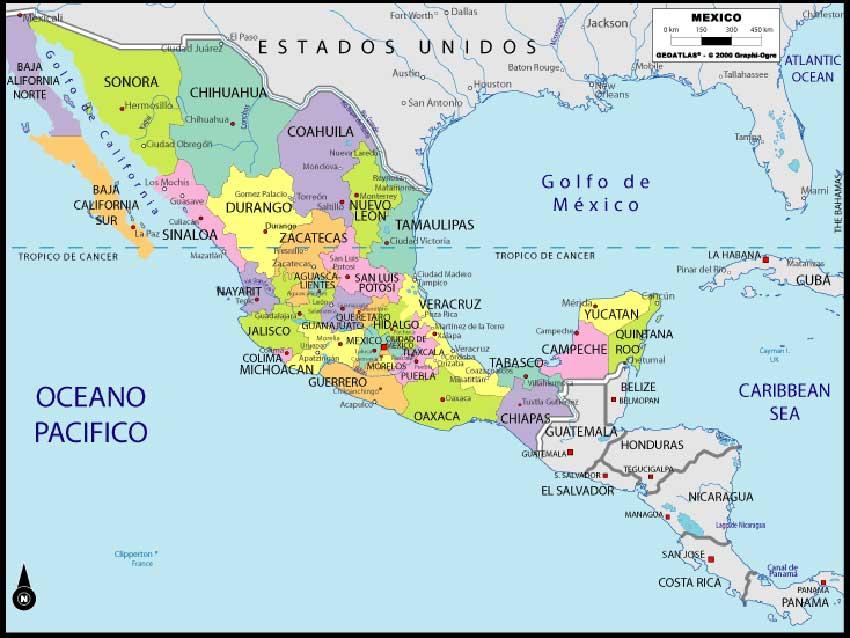 Estados De Mexico Mapa.Mapa De Estados Mexicanos Mexico